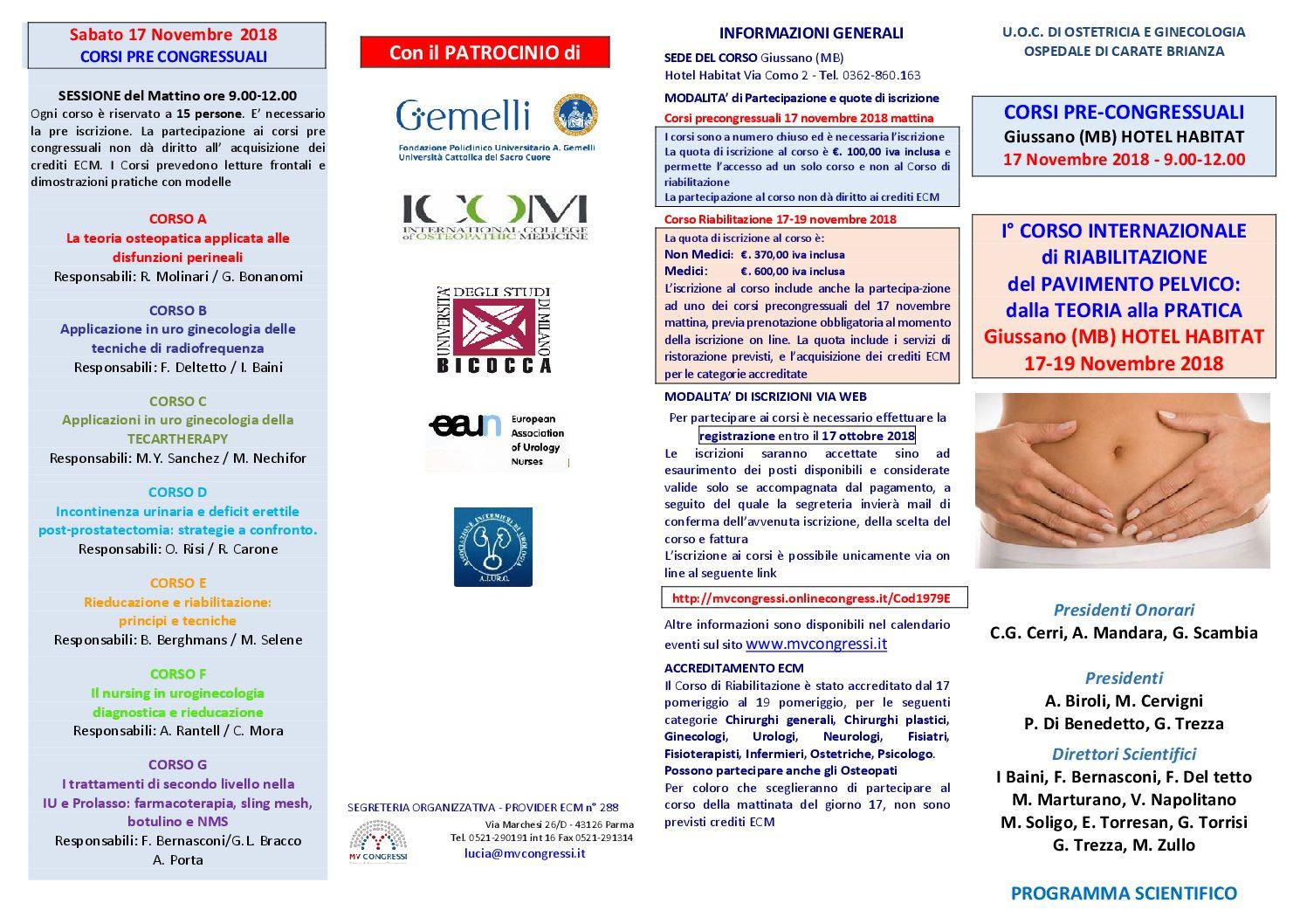 I° CORSO INTERNAZIONALE  di RIABILITAZIONE  del PAVIMENTO PELVICO:  dalla TEORIA alla PRATICA